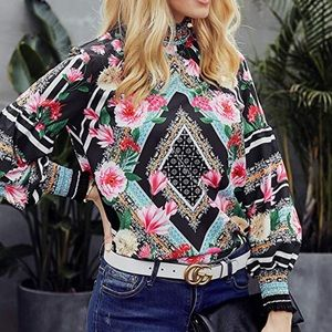 Tops - Boho Style Blouse with Pink Roses